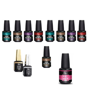 Pack Kit Esmalte Permanente Loveyes + Base + Top + Primer