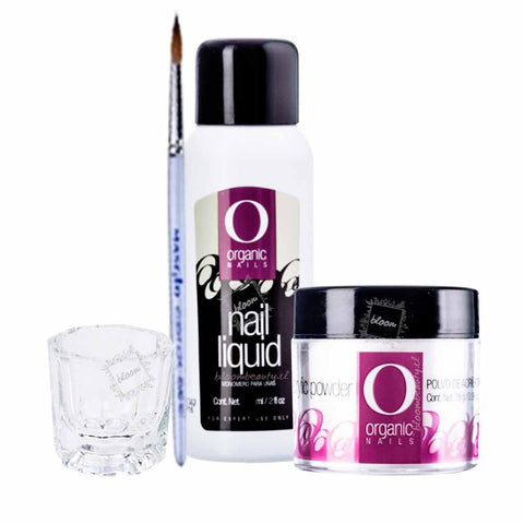 Kit Organic Nails, Monomero 30ml+polimero 7.5g +pincel+ vaso godet