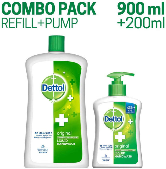 Dettol Original Liquid Handwash - 900 ml with Free Liquid Handwash Pump (Any variant)