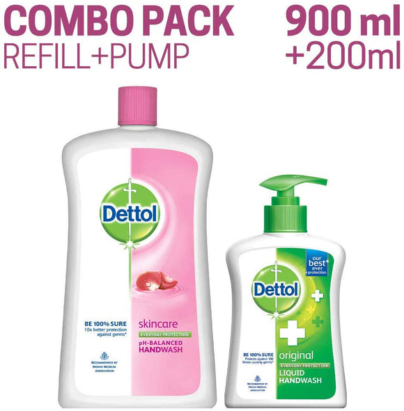 Dettol Skincare Liquid Handwash - 900 ml with Free Liquid Handwash Pump (Any variant)