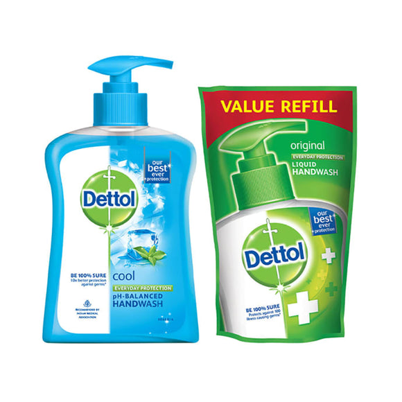 Dettol Cool Liquid Handwash - 200 ml with Free Liquid Handwash Refill - 175 ml (Any Variant)