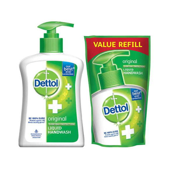 Dettol Original Liquid Handwash - 200 ml with Free Liquid Handwash Refill - 175 ml (Any Variant)