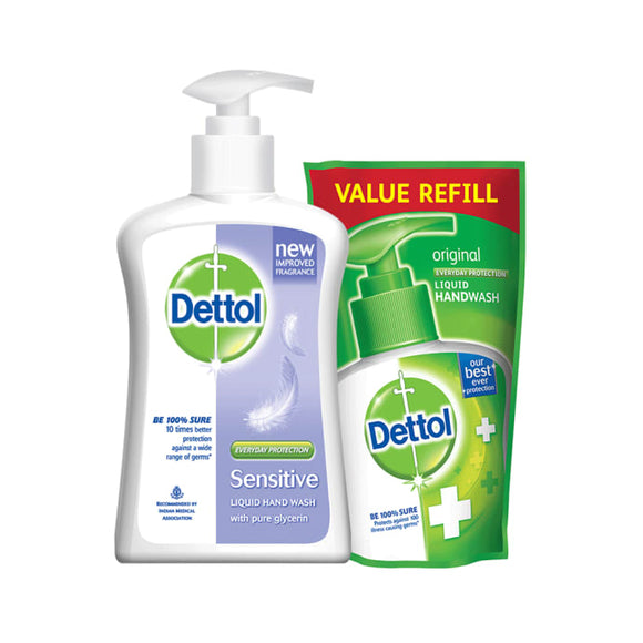 Dettol Sensitive Liquid Handwash - 200 ml with Free Liquid Handwash Refill - 175 ml (Any Variant)