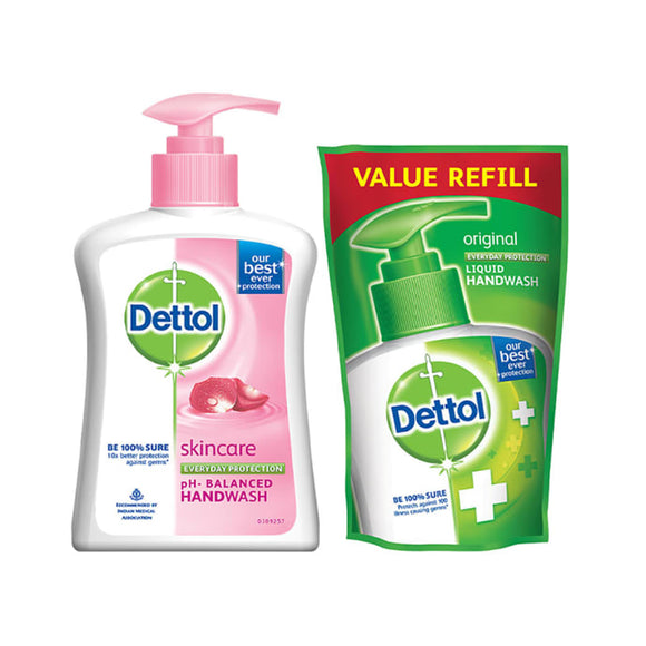 Dettol Skincare Liquid Handwash - 200 ml with Free Liquid Handwash Refill - 175 ml (Any Variant)