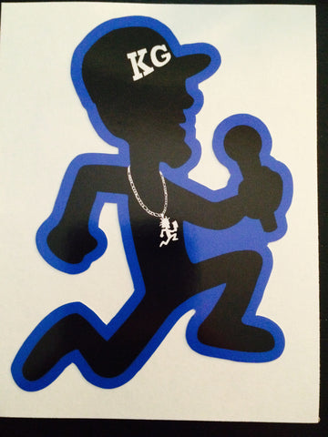 "THREE KG 4"" Vinyl STICKER's (BLUE))"