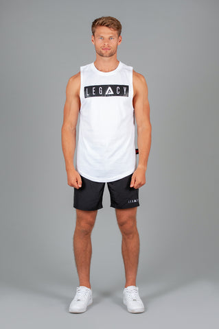 Boxed Logo Tank White