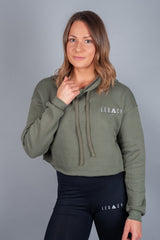Unleashed Cropped Hoodie Olive
