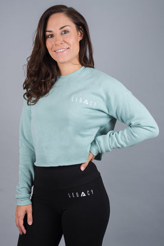 Unleashed Cropped Jumper Dusty Blue