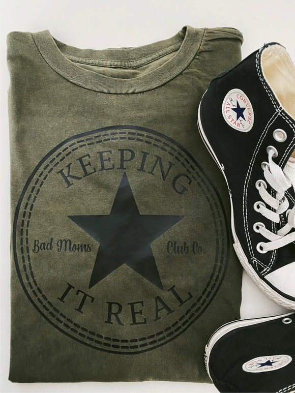 Keeping It Real Tee in Vintage Green