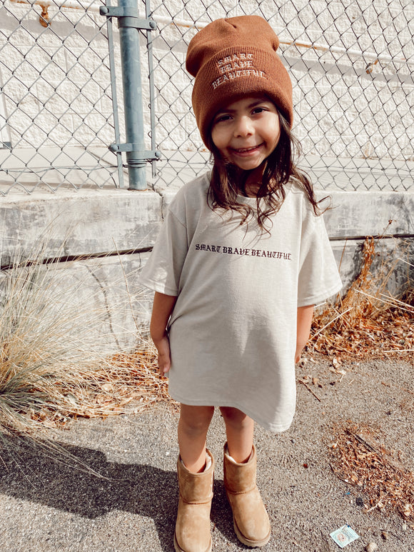 Smart.Brave.Beautiful. Kids Tee in Tan