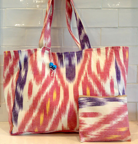 Cotton Ikat tote bag - red