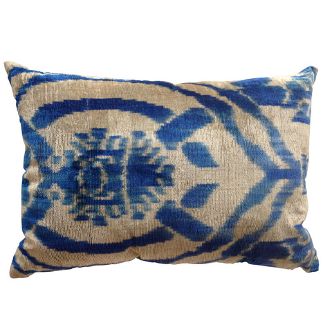 TURKISH HAND-LOOMED SILK VELVET IKAT CUSHION - Ottoman design in electric blue