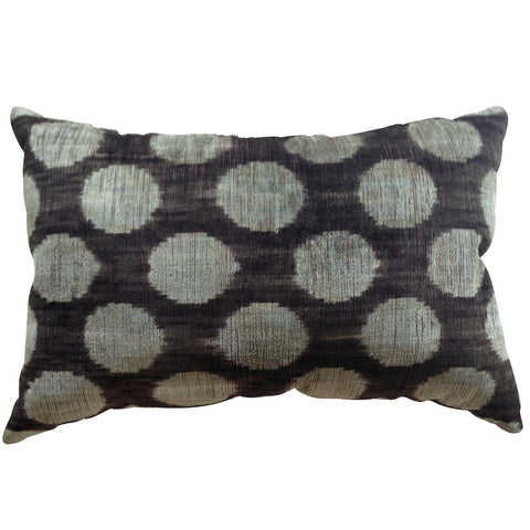 TURKISH HAND-LOOMED SILK VELVET IKAT CUSHION - black with silver/blue dots