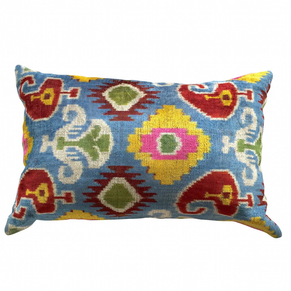 TURKISH HAND-LOOMED SILK VELVET IKAT CUSHION - Multi colour ethnic design