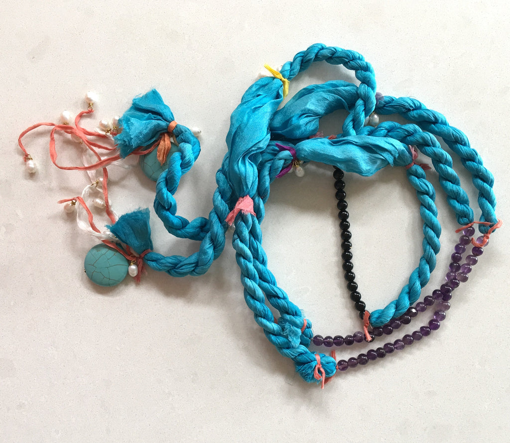Silk rope - turquoise