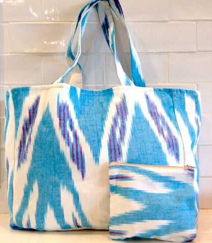Cotton Ikat tote bag -turquoise