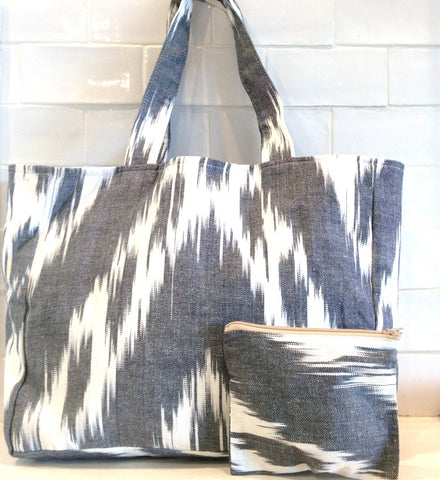 Cotton Ikat tote bag -black