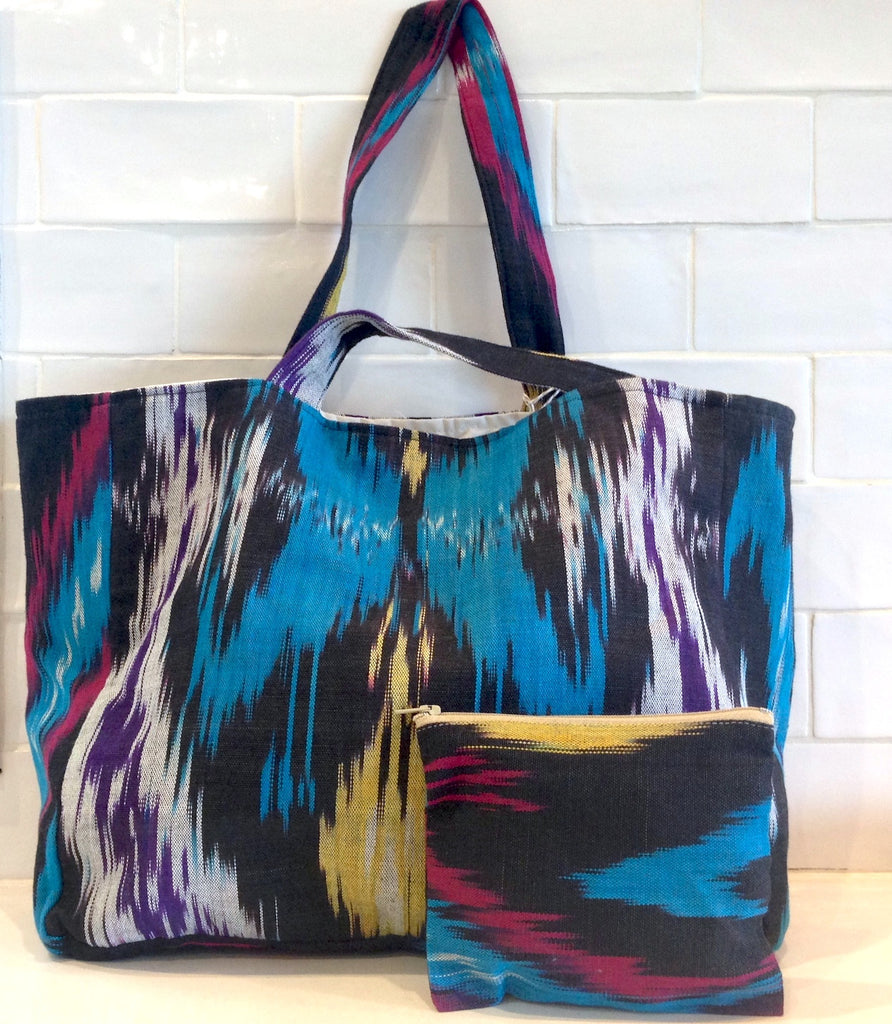 Cotton Ikat tote bag -blue/black