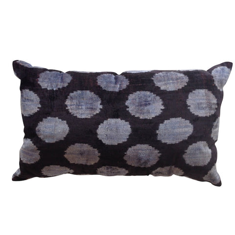TURKISH HAND-LOOMED SILK VELVET IKAT CUSHION - navy with blue dots