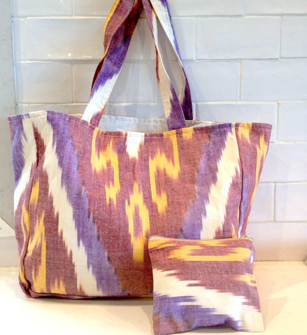 Cotton Ikat tote bag -purple/yellow/red