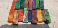Random and burl Grab Bag Dyed stabilized short blanks