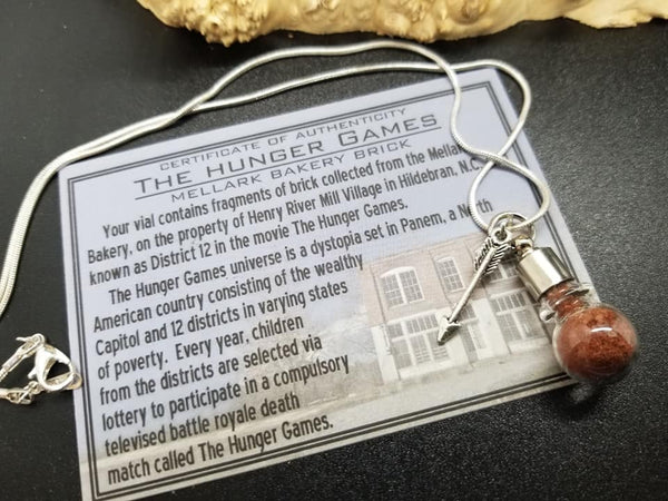 Hunger Games brick Vial Silver Necklace
