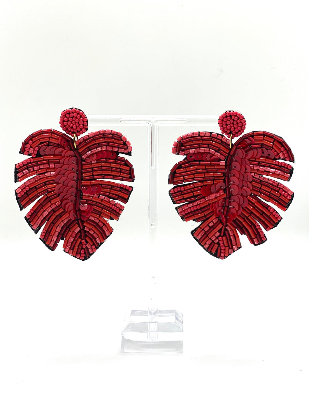 Red Palm Earrings