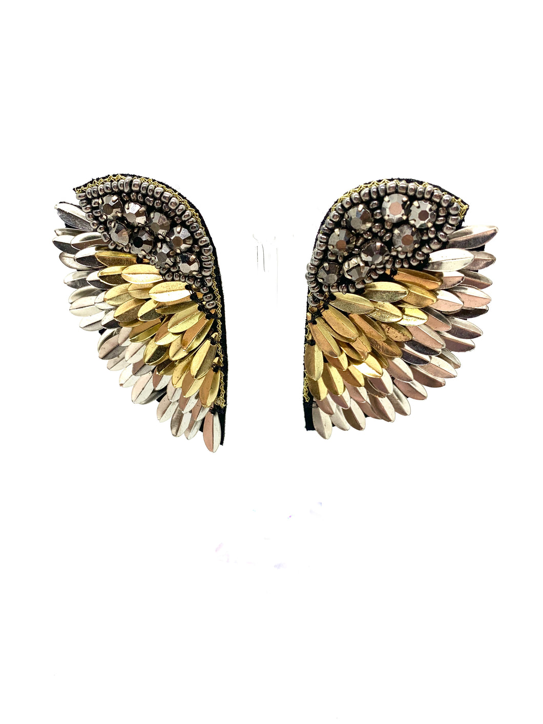 Gunmetal and Gold Feather Wing Earrings