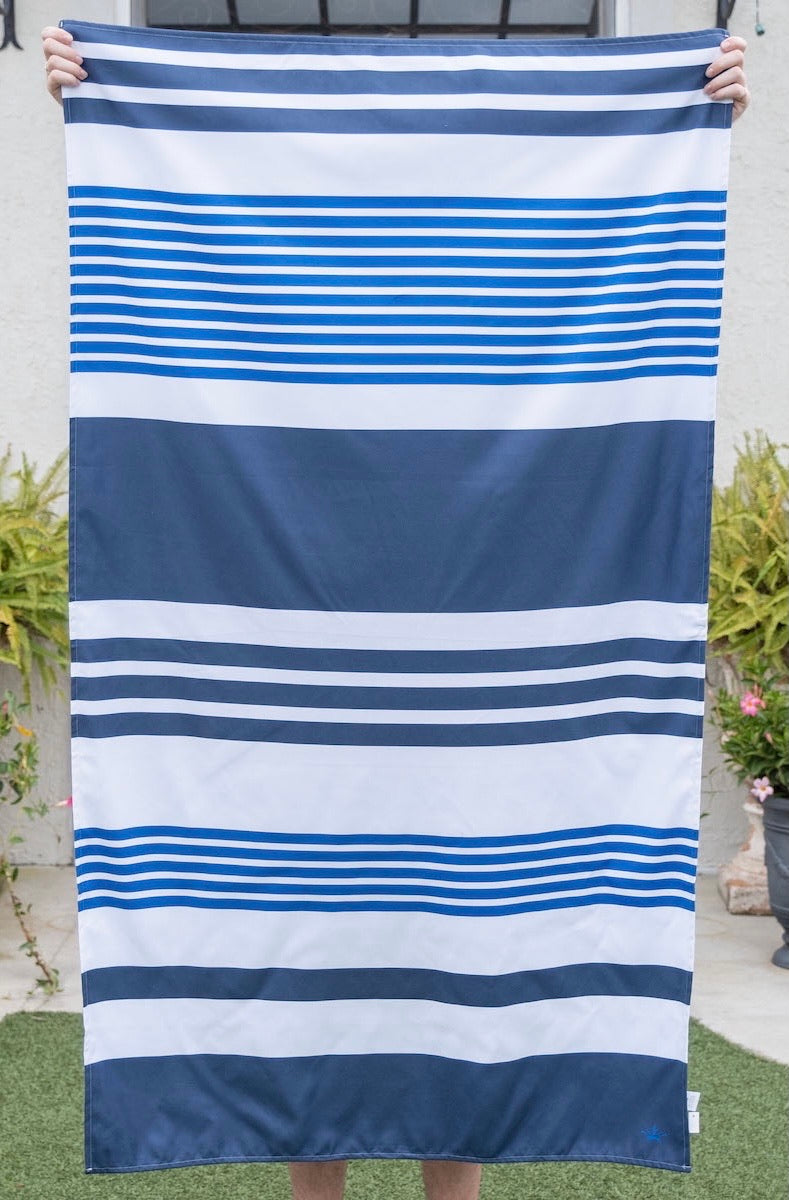Navy Blue Paradise Stripe Beach Towel