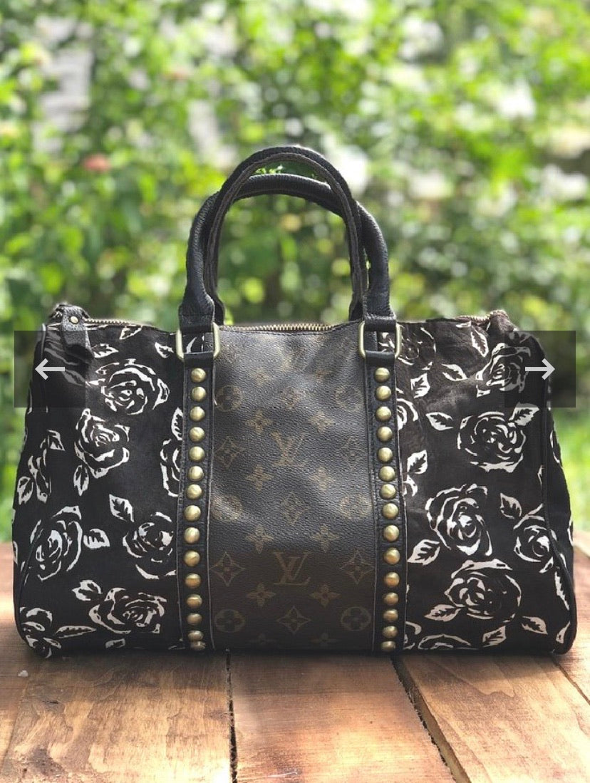 LV Black, Brown, and Gold Rose Speedy Purse