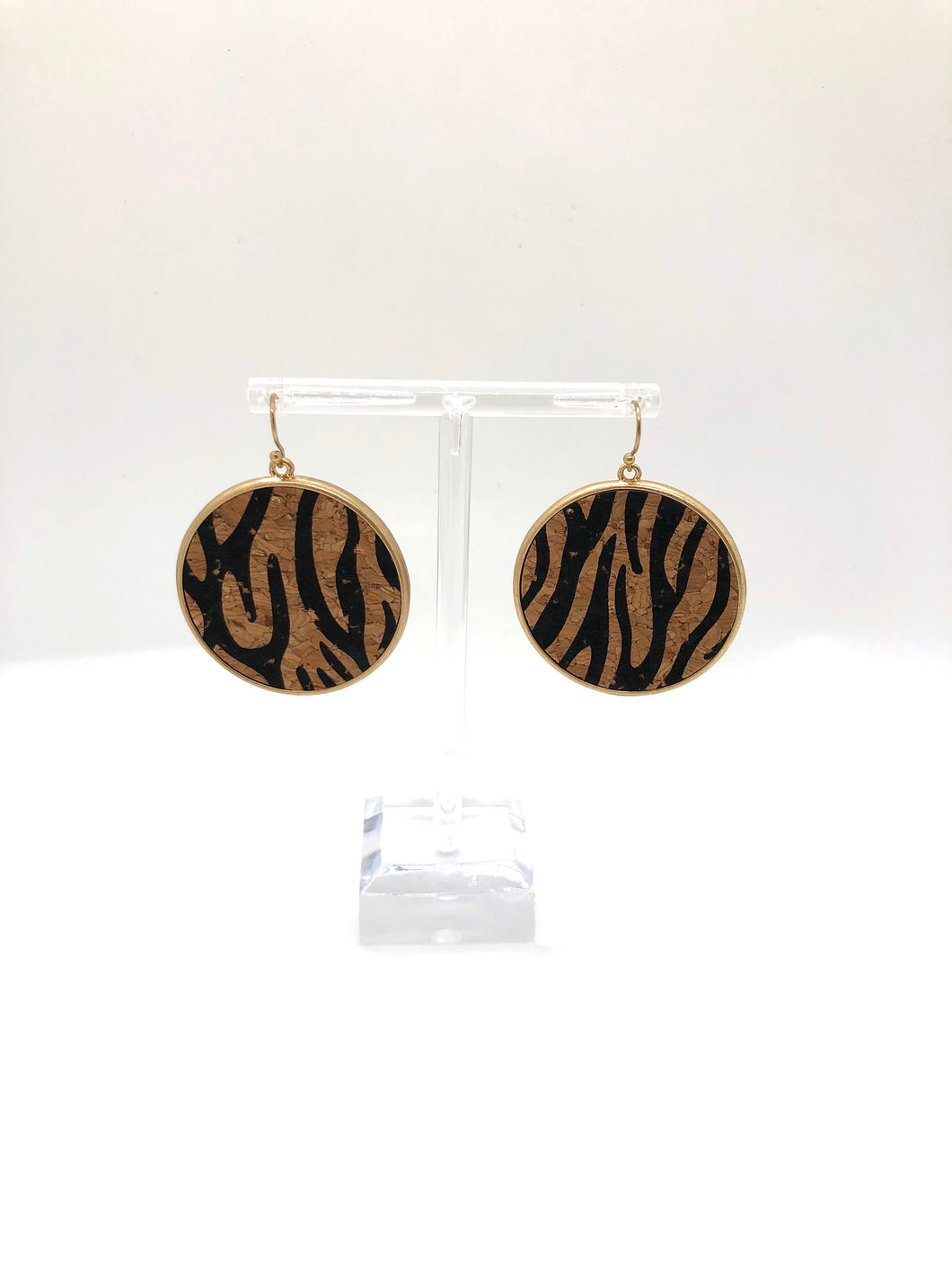 Cork Tiger Stripe Earring