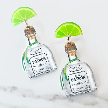 Patron Top Shelf Tequila Earrings with Swarovski Crystals