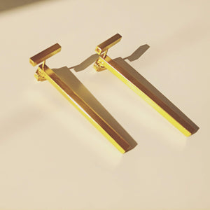 24K Gold Plated Sterling Silver Square Tube T Ear Jacket / Single Or Pair