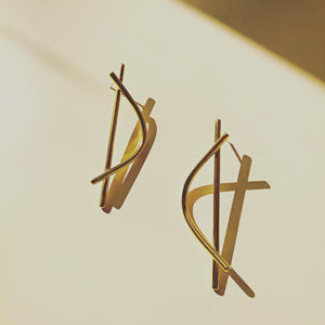 24K Gold Plated Large Arch Drop Earrings