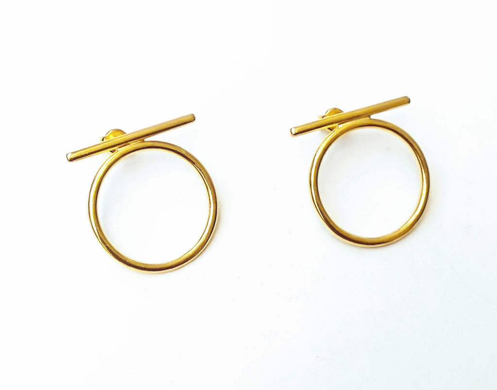 Gold Plated Line & Hoop Earrings