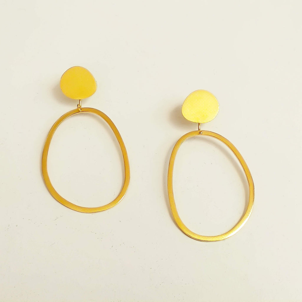 24K Gold Plated Sterling Silver Pebble & Abstract Hoop Earrings