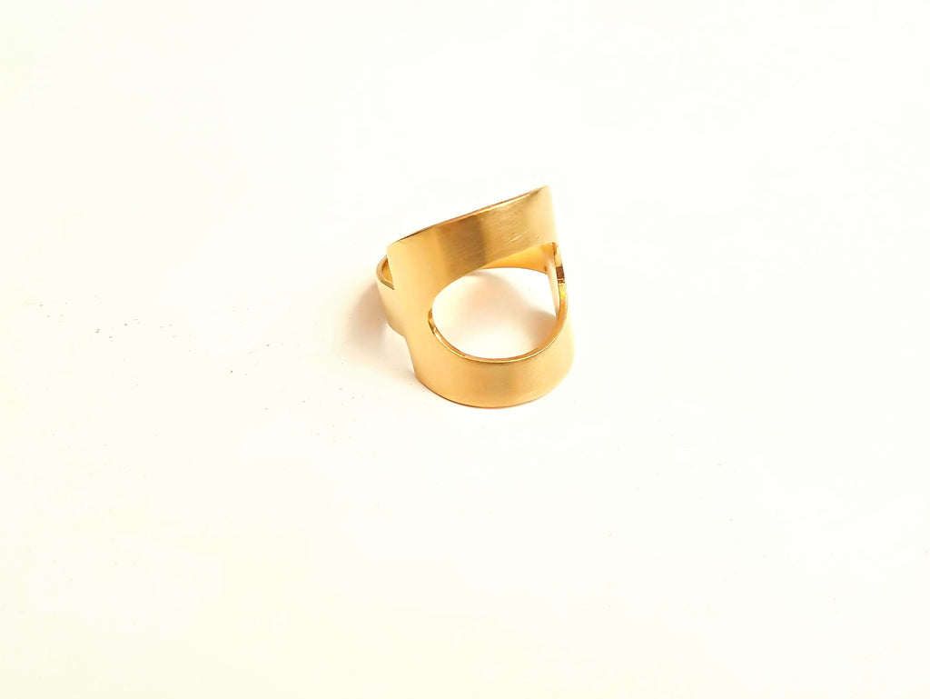 24K Gold Plated Sterling Silver Geometric Ring With Oval Cutout