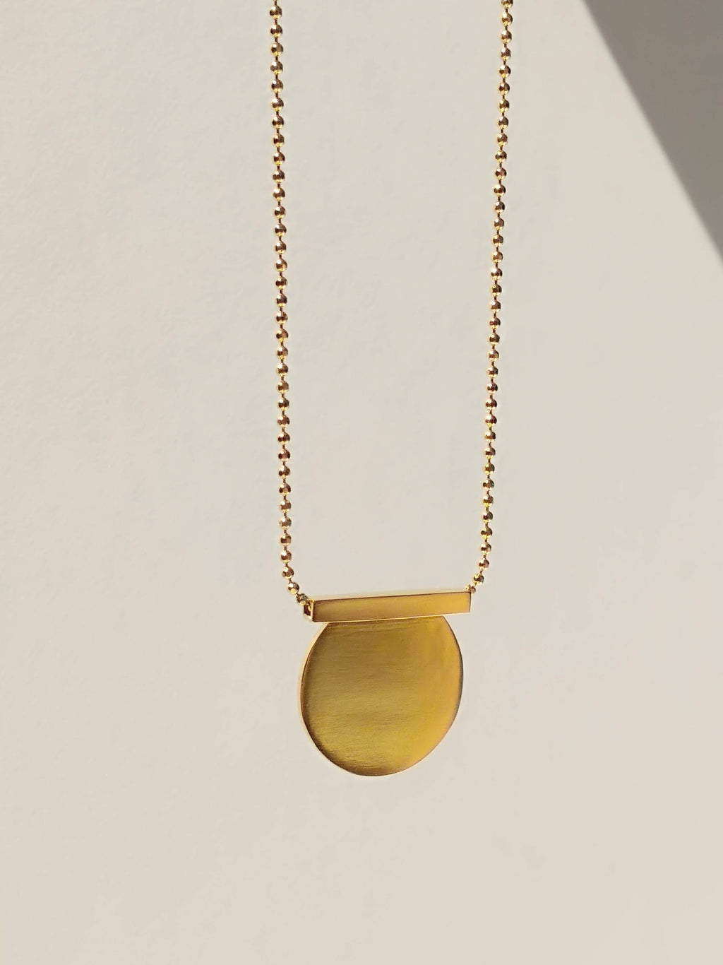 24K Gold Plated Cut Circle & Line Necklace