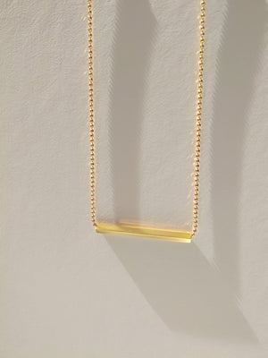 24K Gold Plated Sterling Silver Bar Necklace with a ball chain