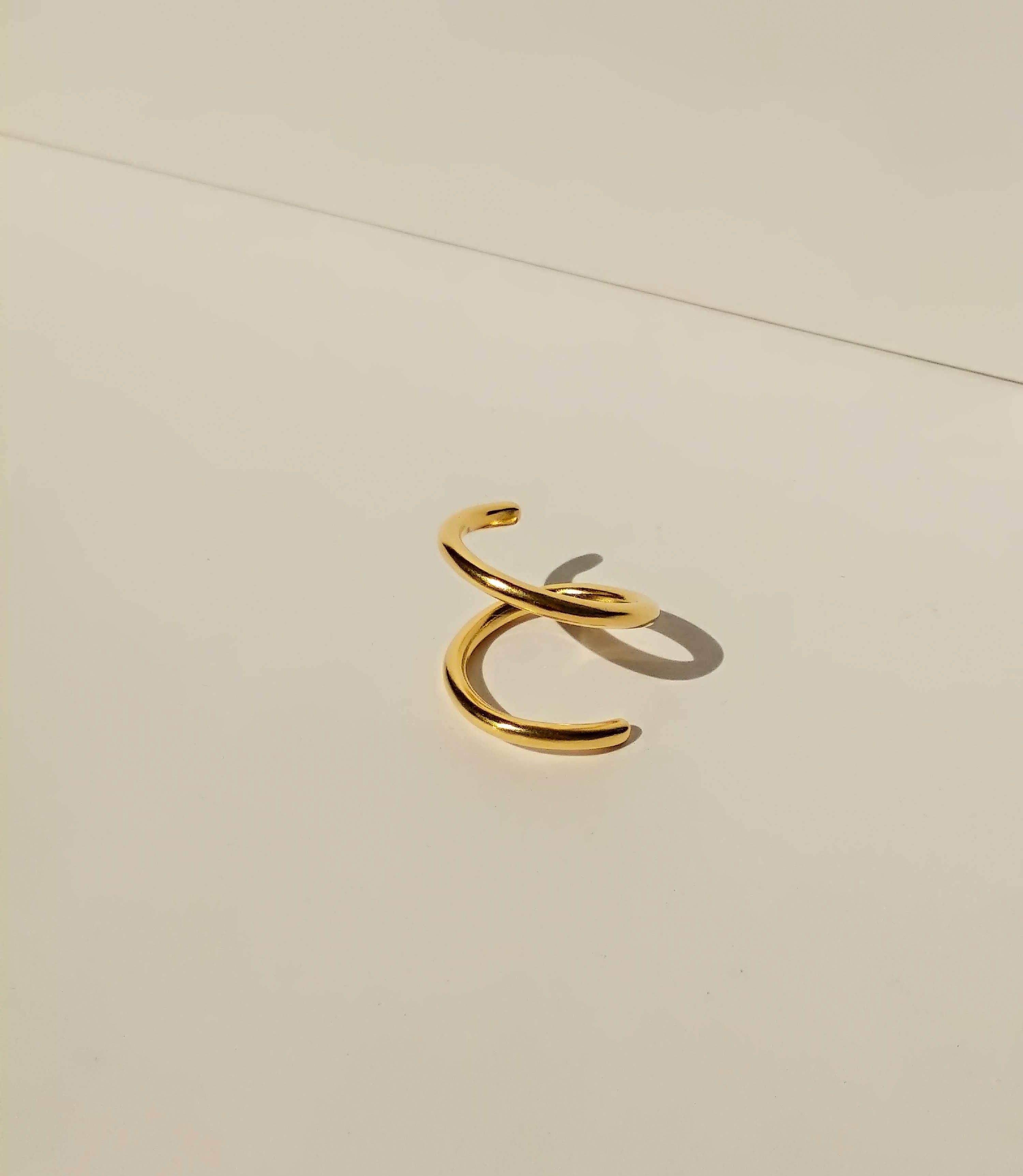 24K Gold Plated Swirl Ring | Double Band Ring