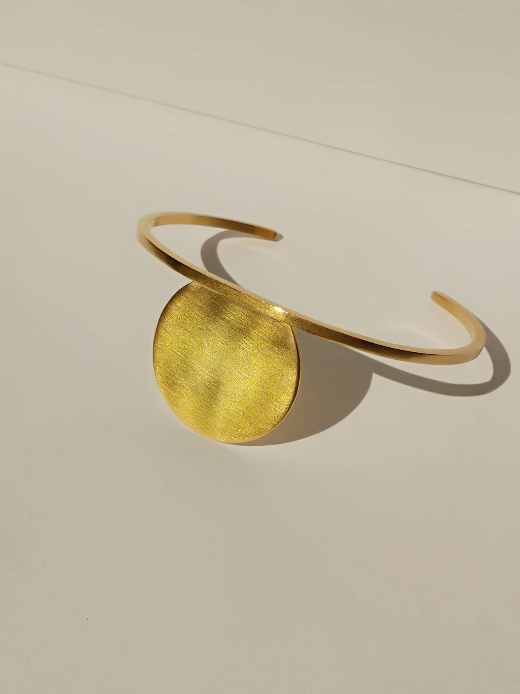 24K Gold Plated Cut Circle and Square Wire Cuff | Secant Cuff