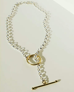 Sterling Silver Link Chain Necklace W/Brass Toggle Clasp