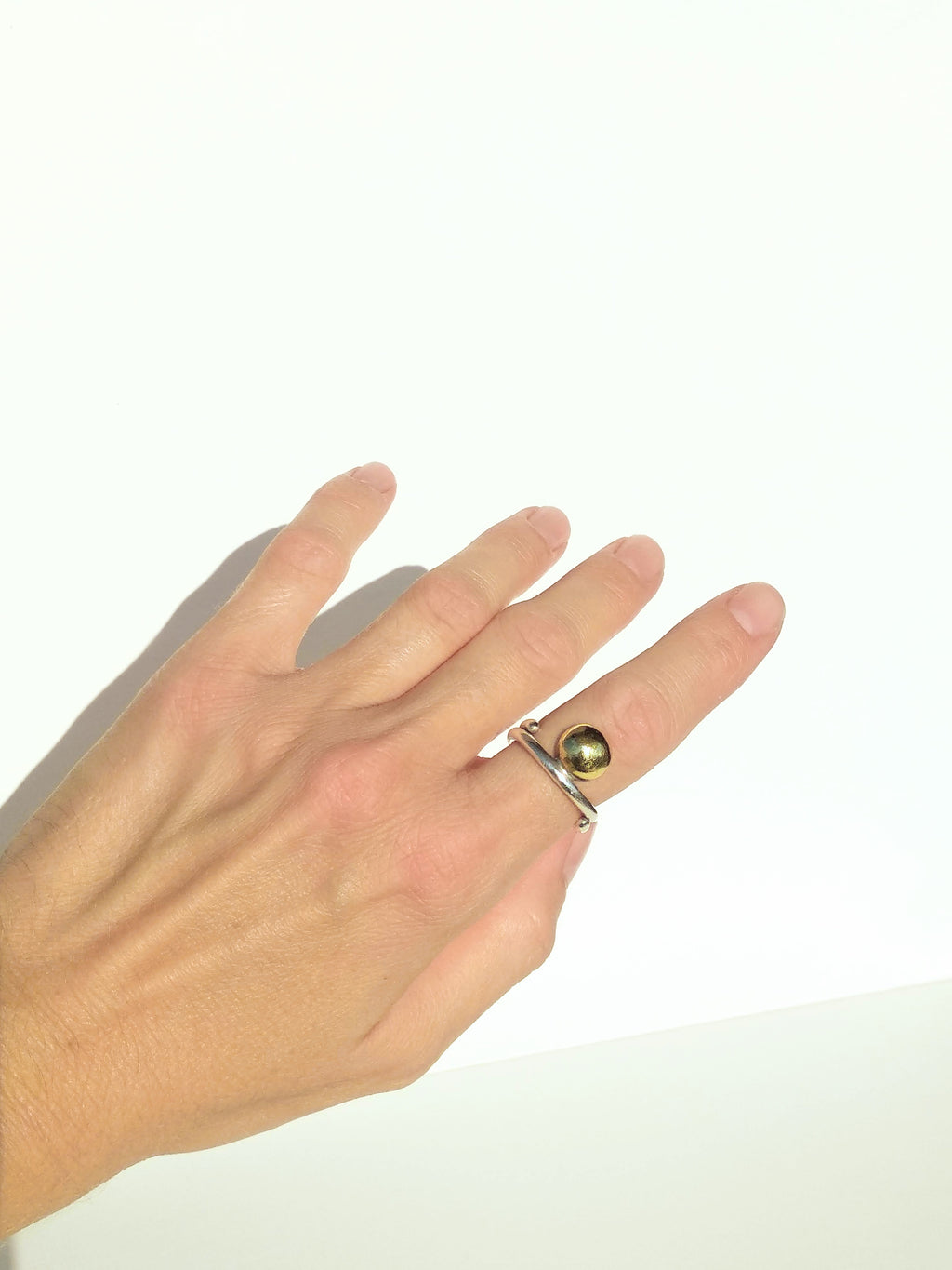 Sterling Silver Coil Band Ring W/Brass Bead