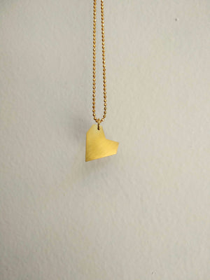 24K Gold Plated Sterling Silver Asymmetrical Heart Necklace
