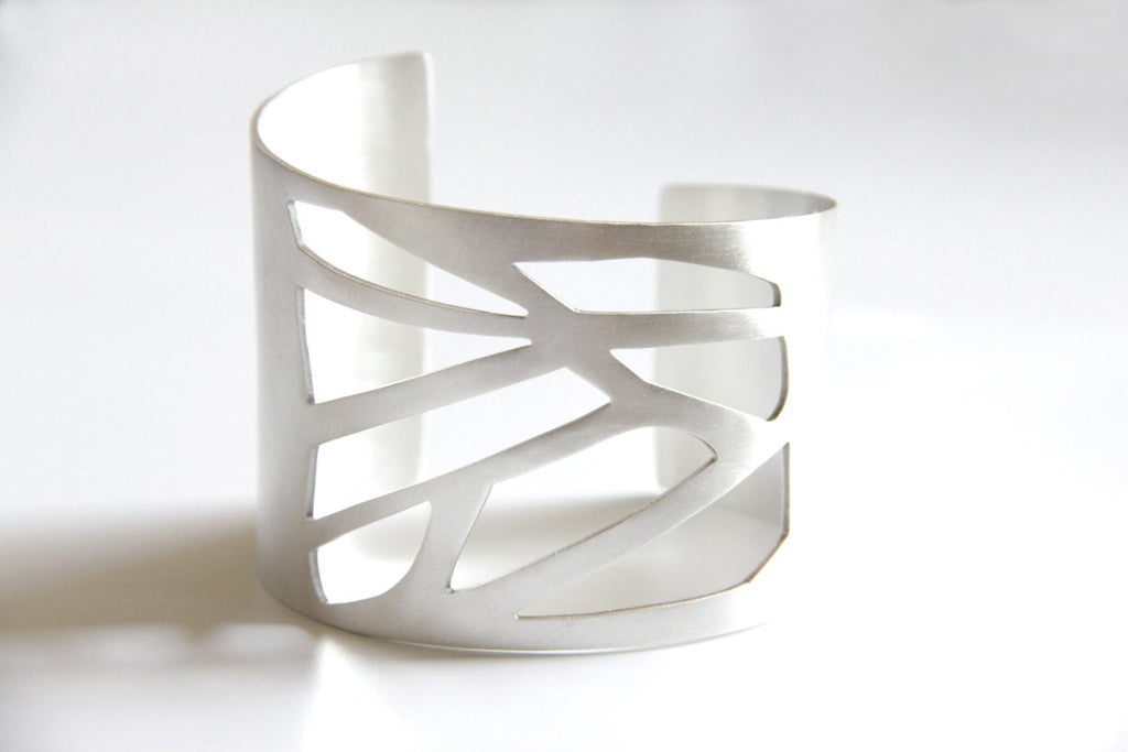Wide Sterling Silver Statement Cuff W/ A Geometric Cutout Pattern