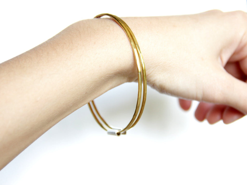 Thin Brass And Sterling Silver Bangles, Set Of Two