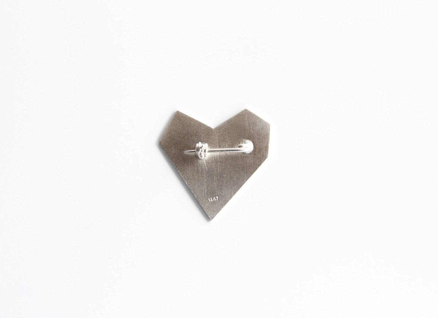 Sterling Silver Asymmetrical Heart Brooch