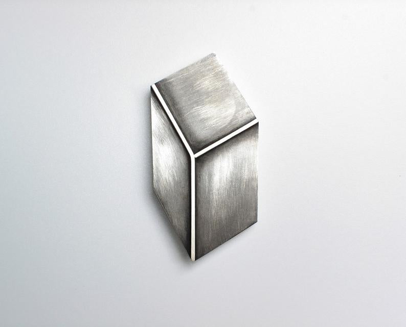 3D Effect Sterling Silver Rectangle Brooch