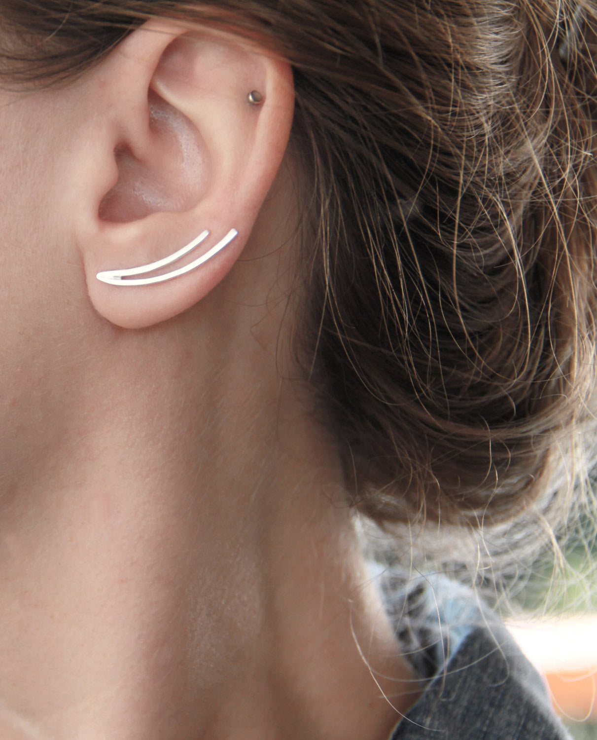Sterling Silver Curved Lines Ear Climber / Single Or Pair