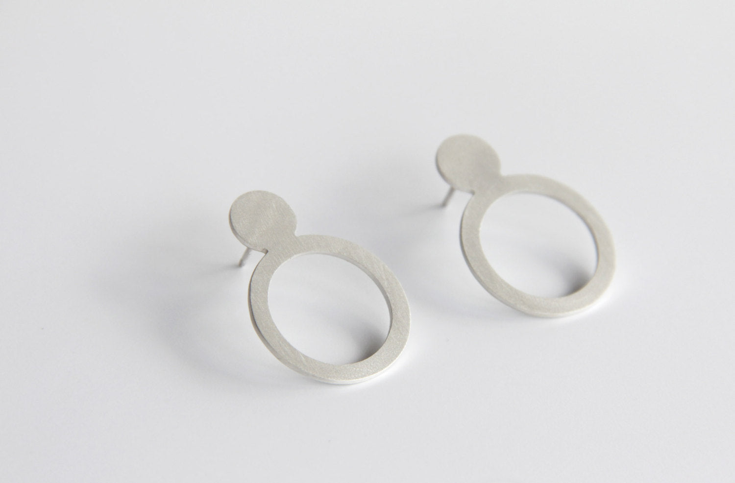 Sterling Silver Double Circle Post Earrings
